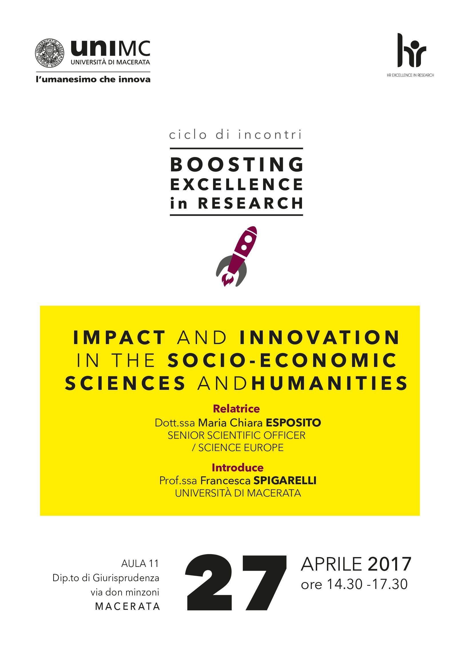 Seminario Impact and Innovation in the Socio-Economic Sciences and Humanities